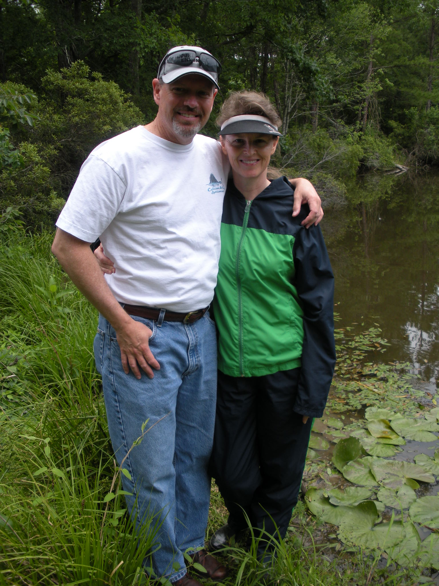 Larry and Jan on the beaver dam