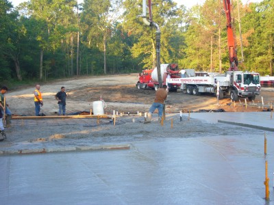 Almost done pouring concrete.