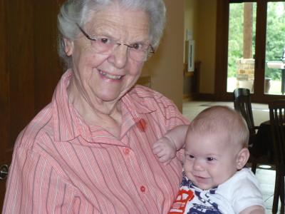 Leona with great grandson Evron Furrow