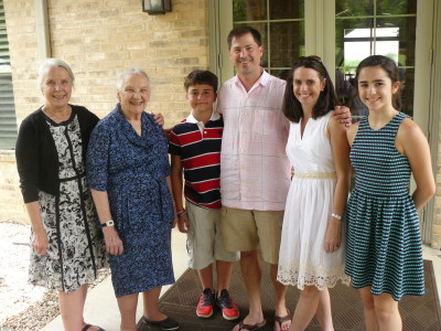Sandra and Doris with Alex, Chris, Annabeth, Amy Burden
