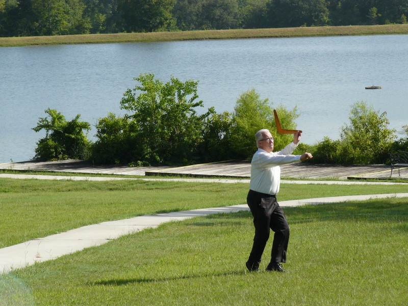 Robert throwing a boomerang