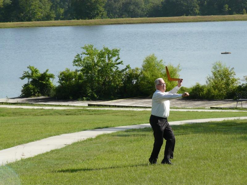 Robert throwing a boomerang