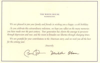 Esthers 100th birthday card from Obamas
